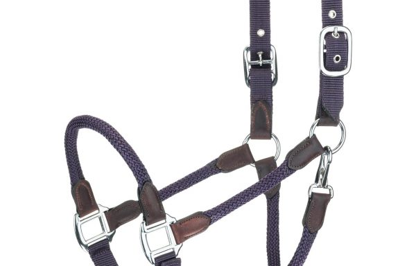 Braided Rope and Leather Ends Adjustable Halter